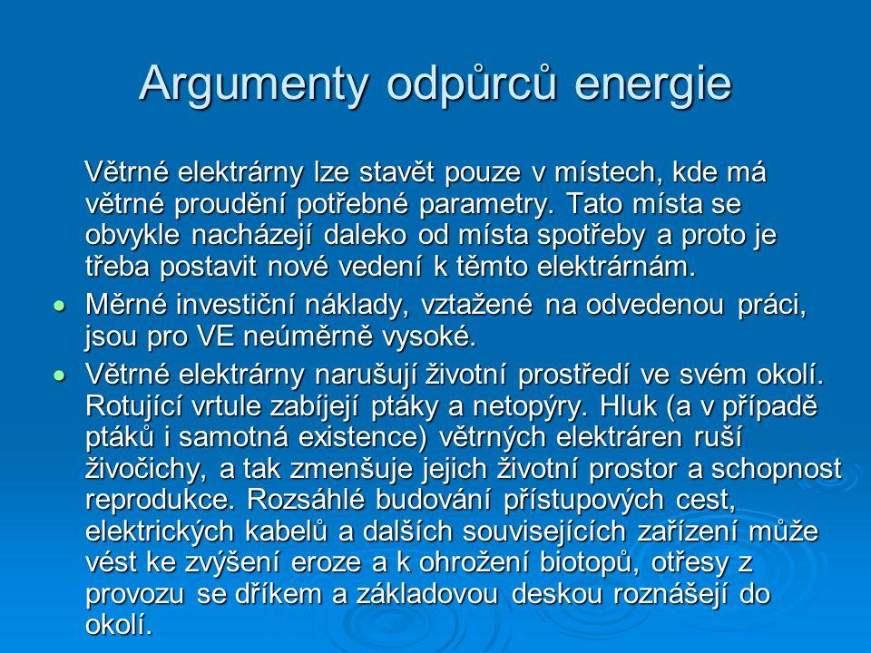 Argumenty odpůrců energie