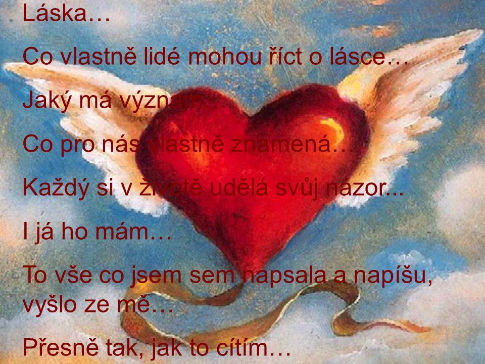 Láska… Co vlastně lidé mohou říct o lásce… Jaký má význam… Co pro nás vlastně znamená… Každý si v životě udělá svůj názor...