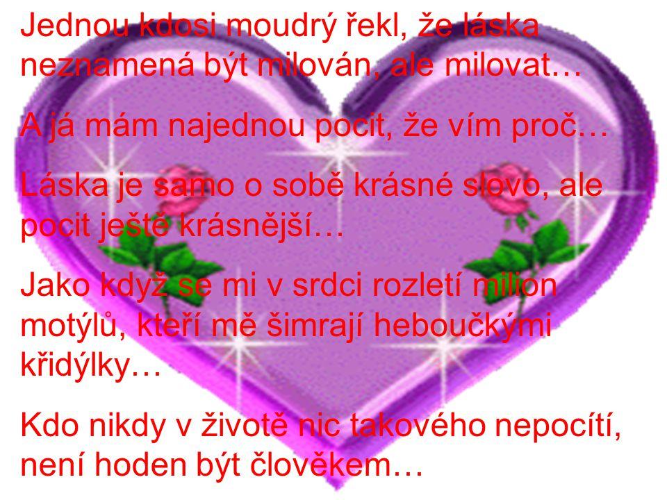 Jednou kdosi moudrý řekl, že láska neznamená být milován, ale milovat…