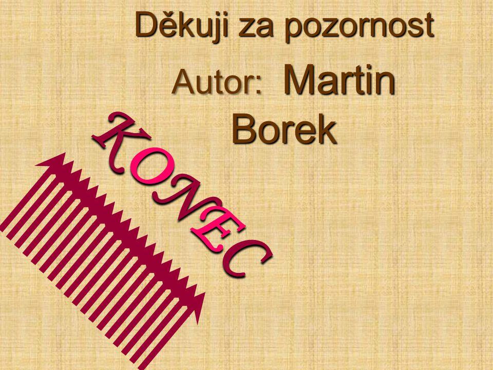 Děkuji za pozornost Autor: Martin Borek