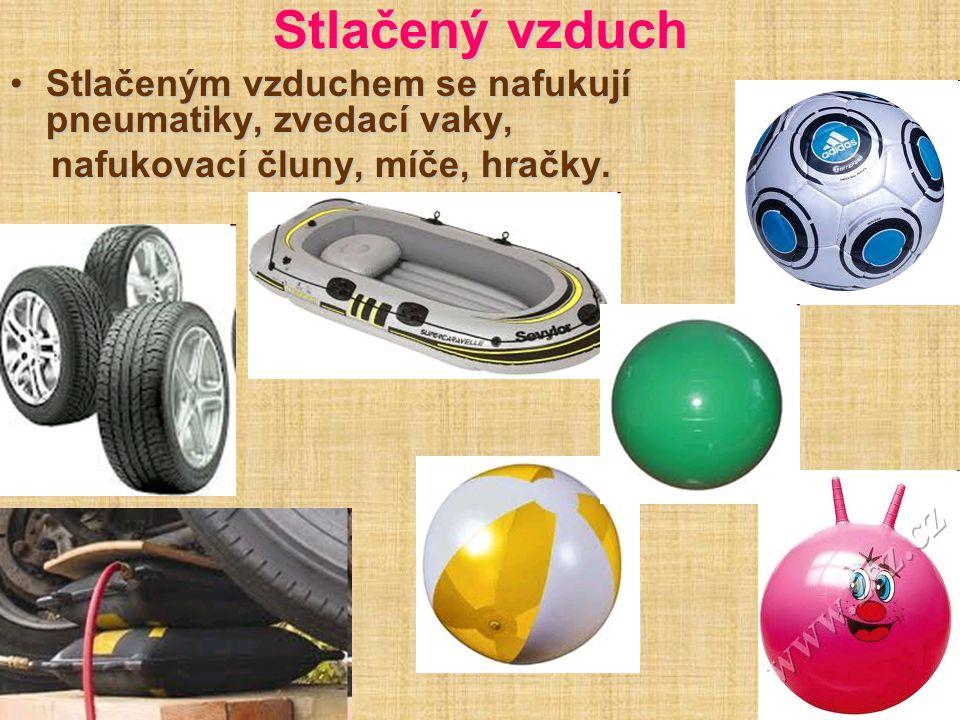 Stlačený vzduch Stlačeným vzduchem se nafukují pneumatiky, zvedací vaky, nafukovací čluny, míče, hračky.