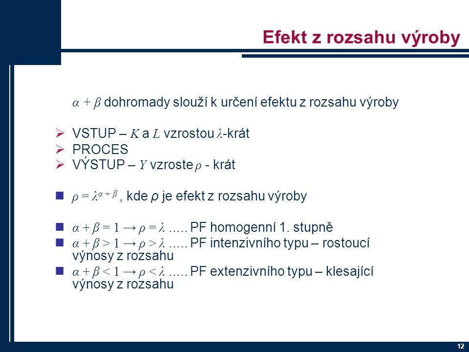 Efekt z rozsahu výroby α + β dohromady slouží k určení efektu z rozsahu výroby. VSTUP – K a L vzrostou λ-krát.