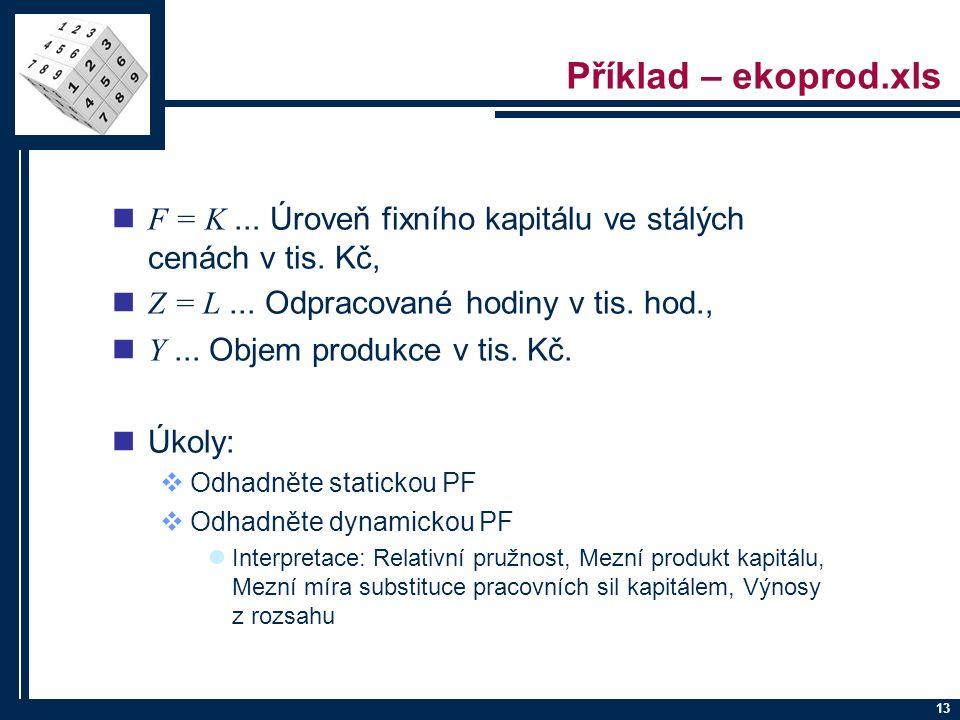 Příklad – ekoprod.xls F = K ... Úroveň fixního kapitálu ve stálých cenách v tis. Kč, Z = L ... Odpracované hodiny v tis. hod.,