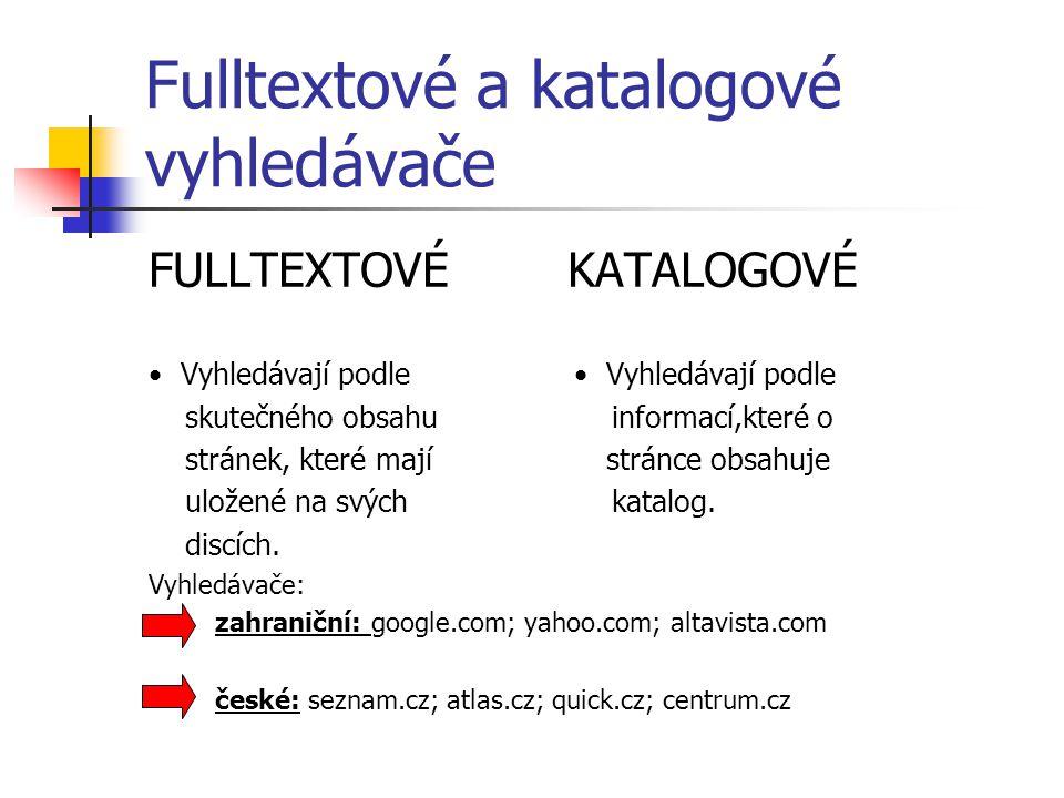 Fulltextové a katalogové vyhledávače