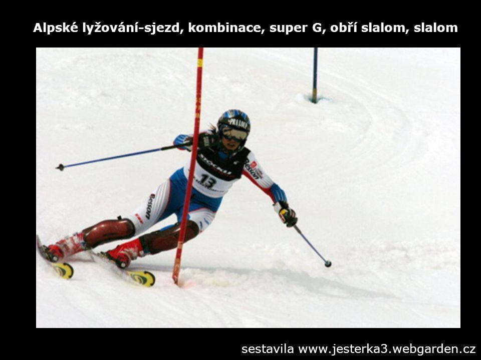 Alpské lyžování-sjezd, kombinace, super G, obří slalom, slalom