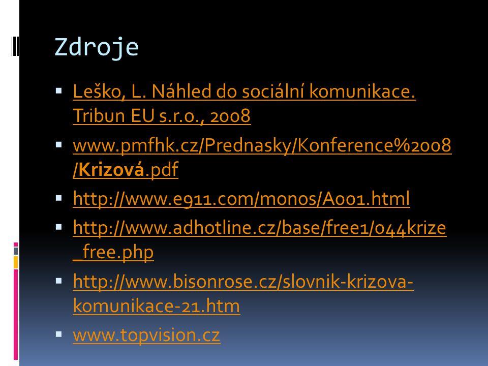 Zdroje Leško, L. Náhled do sociální komunikace. Tribun EU s.r.o., 2008