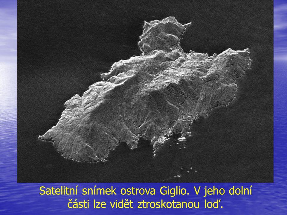 Satelitní snímek ostrova Giglio