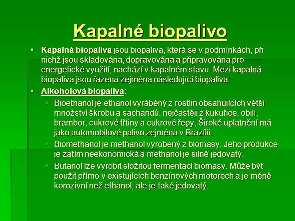 Kapalné biopalivo
