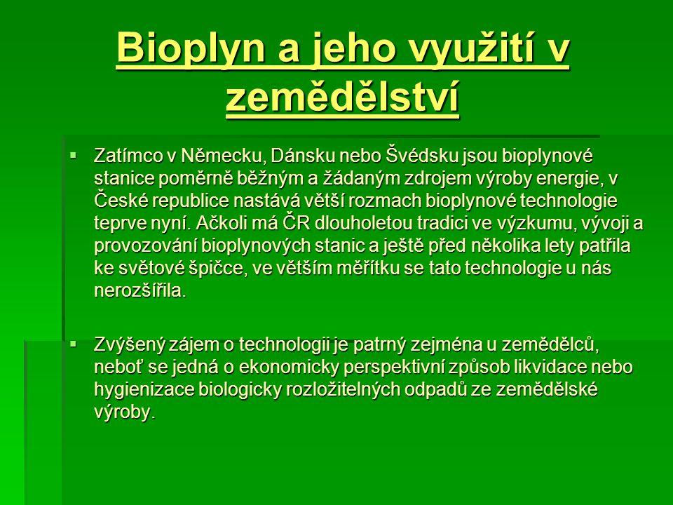 Bioplyn a jeho využití v zemědělství