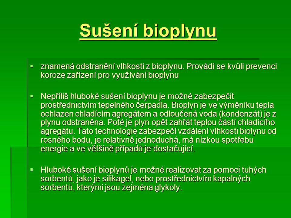 Sušení bioplynu znamená odstranění vlhkosti z bioplynu. Provádí se kvůli prevenci koroze zařízení pro využívání bioplynu.