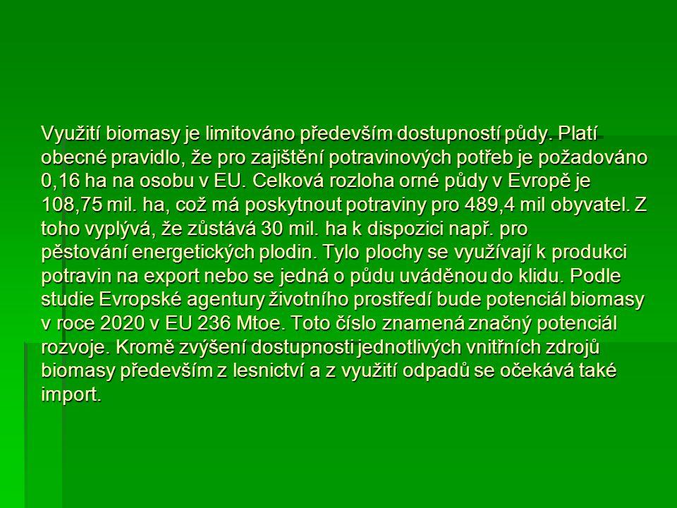 Využití biomasy je limitováno především dostupností půdy