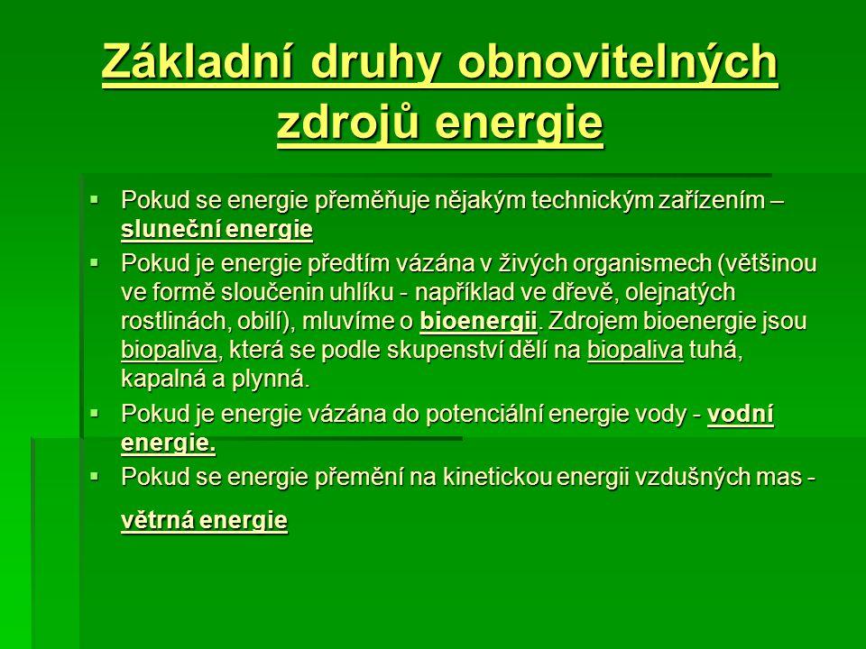 Základní druhy obnovitelných zdrojů energie