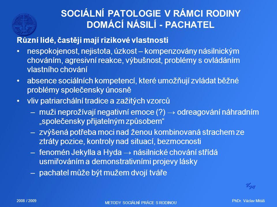 SOCIÁLNÍ PATOLOGIE V RÁMCI RODINY DOMÁCÍ NÁSILÍ - PACHATEL