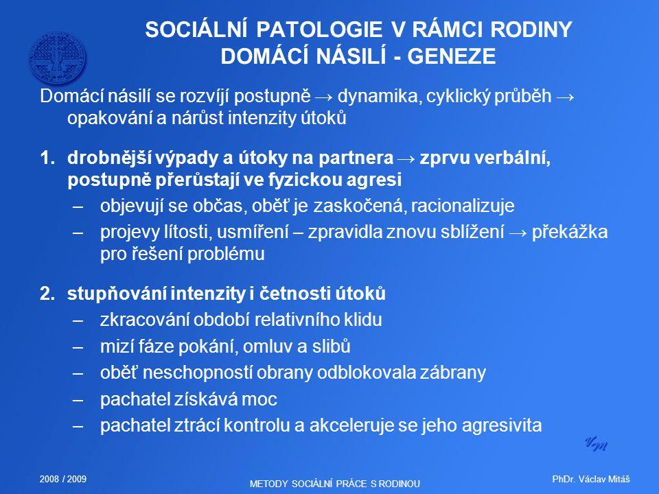 SOCIÁLNÍ PATOLOGIE V RÁMCI RODINY DOMÁCÍ NÁSILÍ - GENEZE