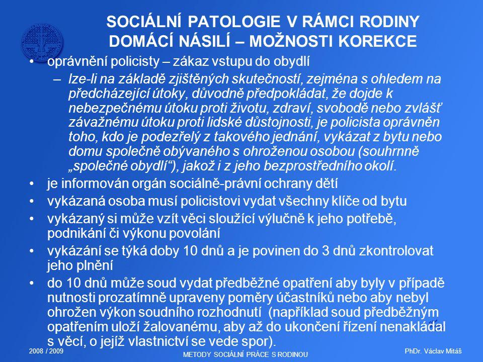 SOCIÁLNÍ PATOLOGIE V RÁMCI RODINY DOMÁCÍ NÁSILÍ – MOŽNOSTI KOREKCE
