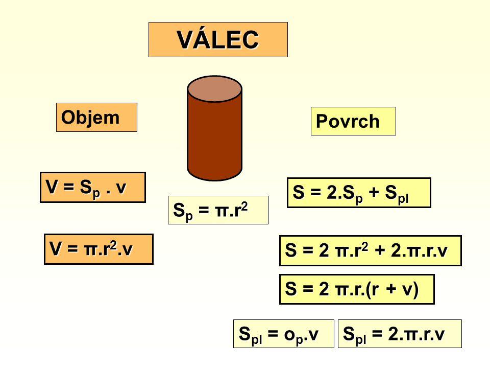 VÁLEC Objem Povrch V = Sp . v S = 2.Sp + Spl Sp = π.r2 V = π.r2.v