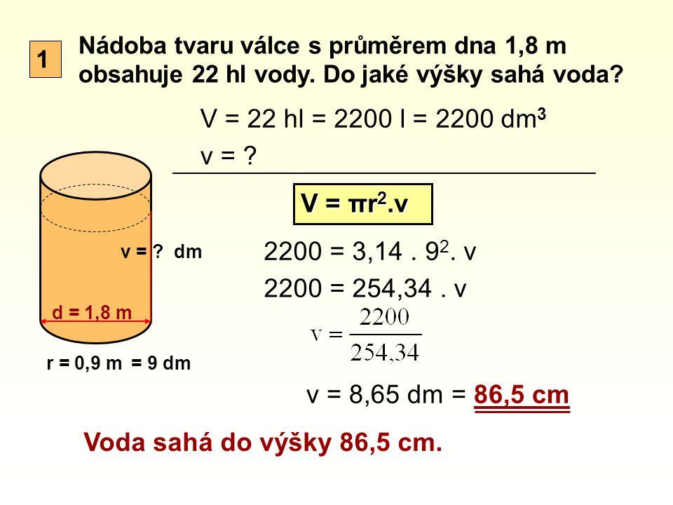 Nádoba tvaru válce s průměrem dna 1,8 m obsahuje 22 hl vody