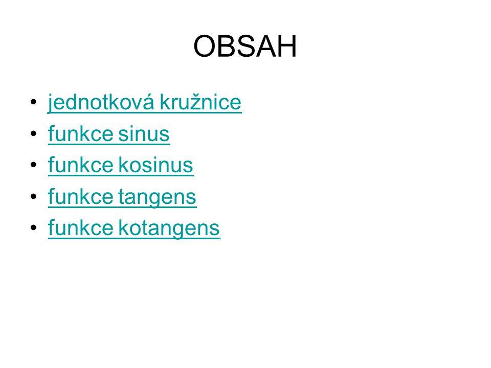 OBSAH jednotková kružnice funkce sinus funkce kosinus funkce tangens