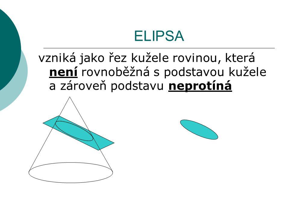 ELIPSA vzniká jako řez kužele rovinou, která není rovnoběžná s podstavou kužele a zároveň podstavu neprotíná.