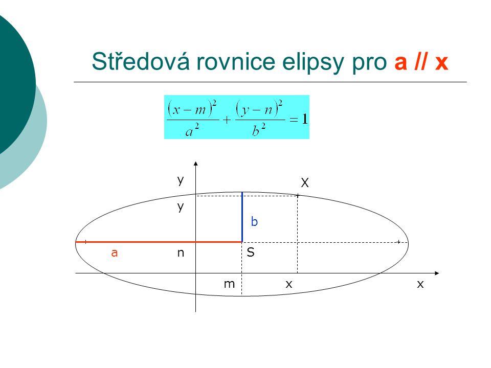 Středová rovnice elipsy pro a // x