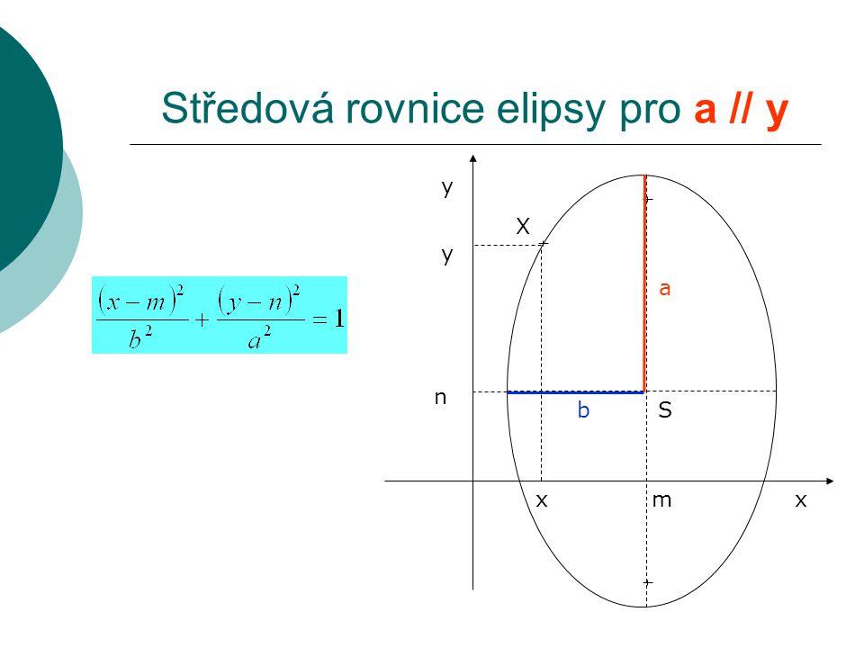 Středová rovnice elipsy pro a // y