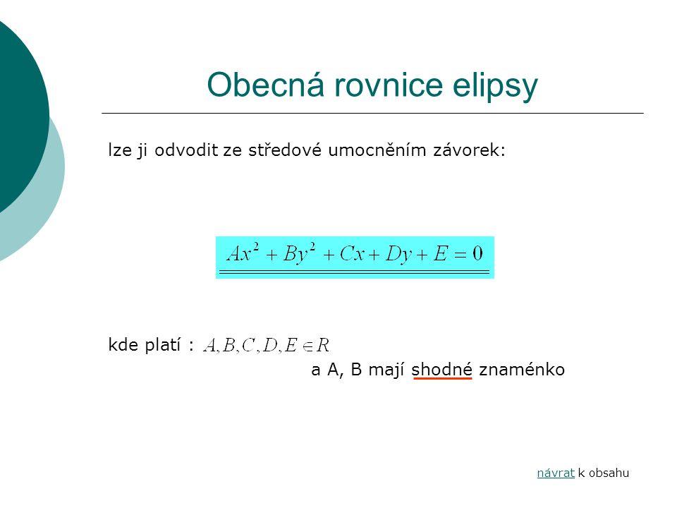 Obecná rovnice elipsy lze ji odvodit ze středové umocněním závorek: