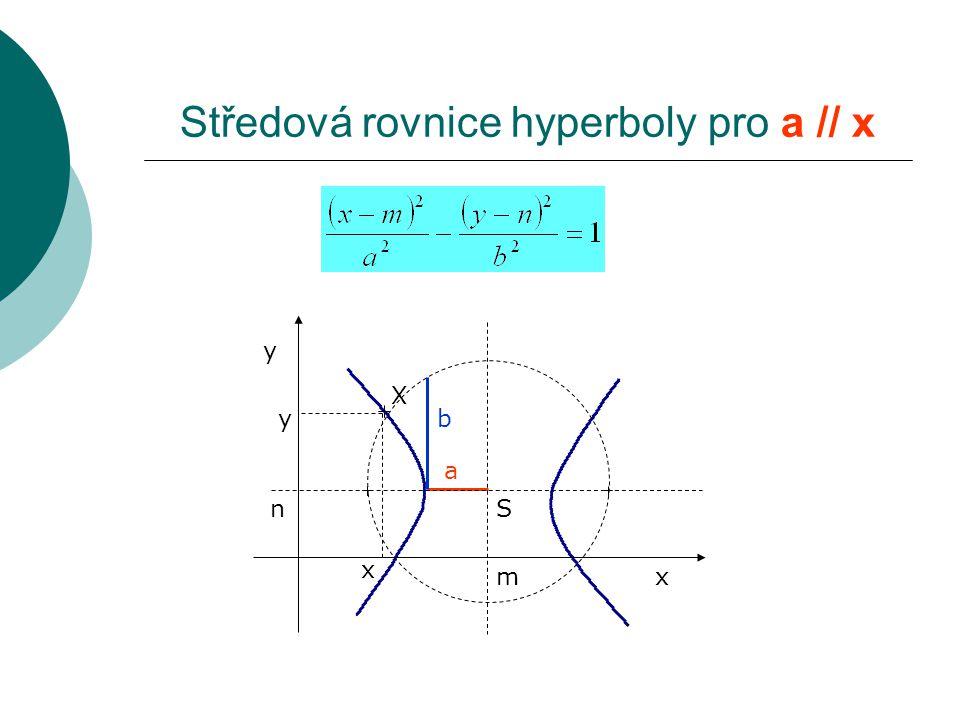 Středová rovnice hyperboly pro a // x