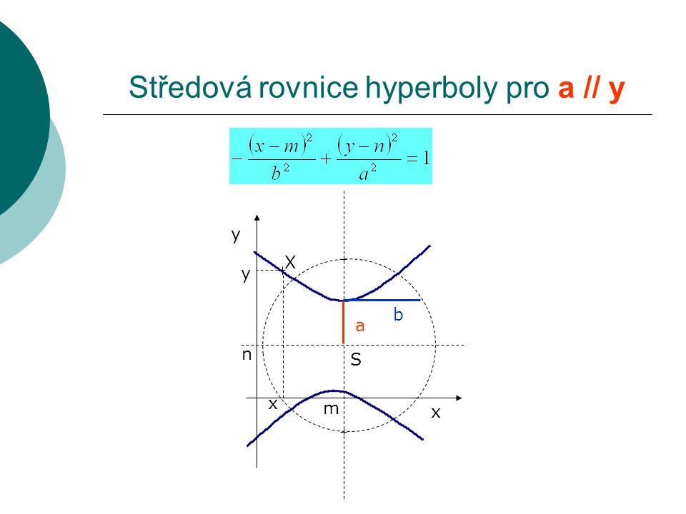 Středová rovnice hyperboly pro a // y