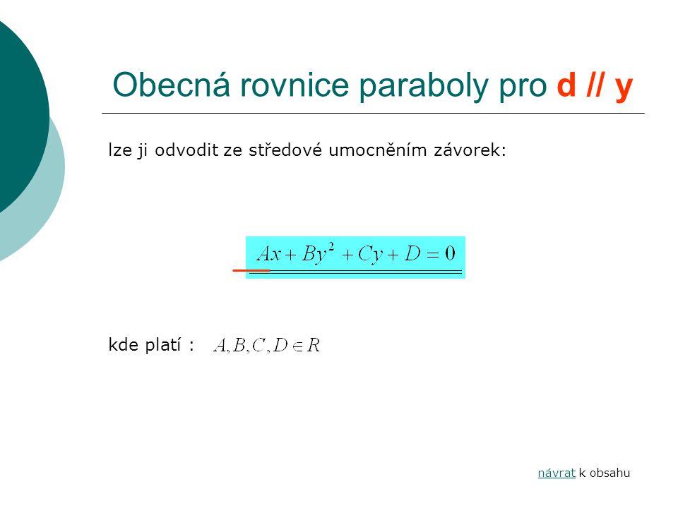 Obecná rovnice paraboly pro d // y