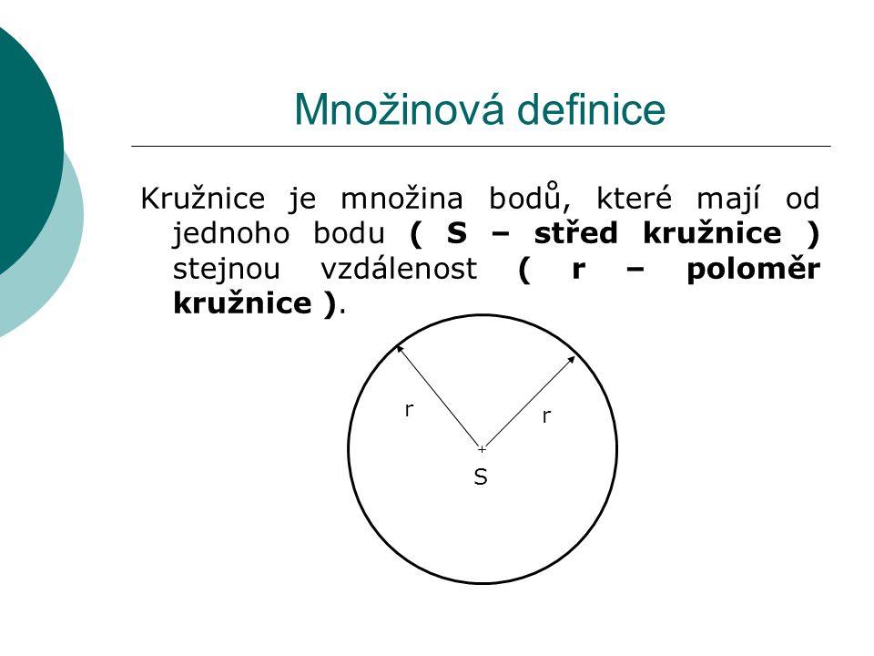 Množinová definice Kružnice je množina bodů, které mají od jednoho bodu ( S – střed kružnice ) stejnou vzdálenost ( r – poloměr kružnice ).