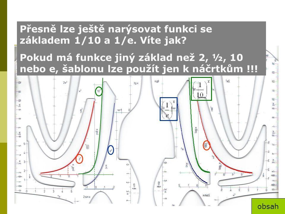 Exponenciální funkce Přesně lze ještě narýsovat funkci se základem 1/10 a 1/e. Víte jak