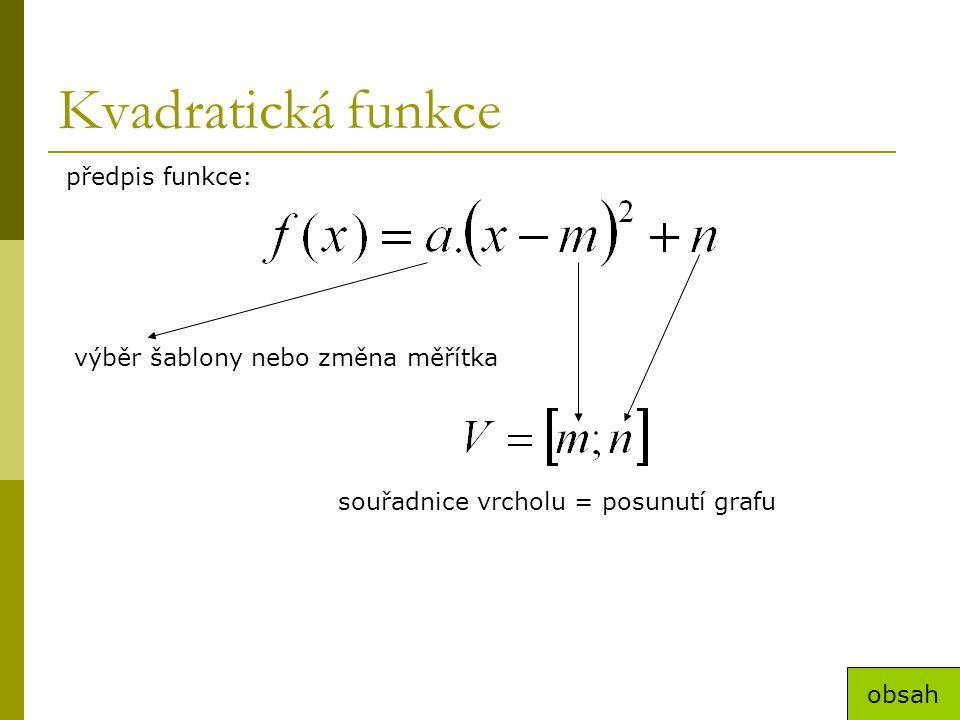 Kvadratická funkce předpis funkce: výběr šablony nebo změna měřítka