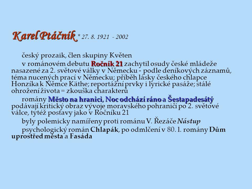 Karel Ptáčník * 27. 8. 1921 - 2002 český prozaik, člen skupiny Květen
