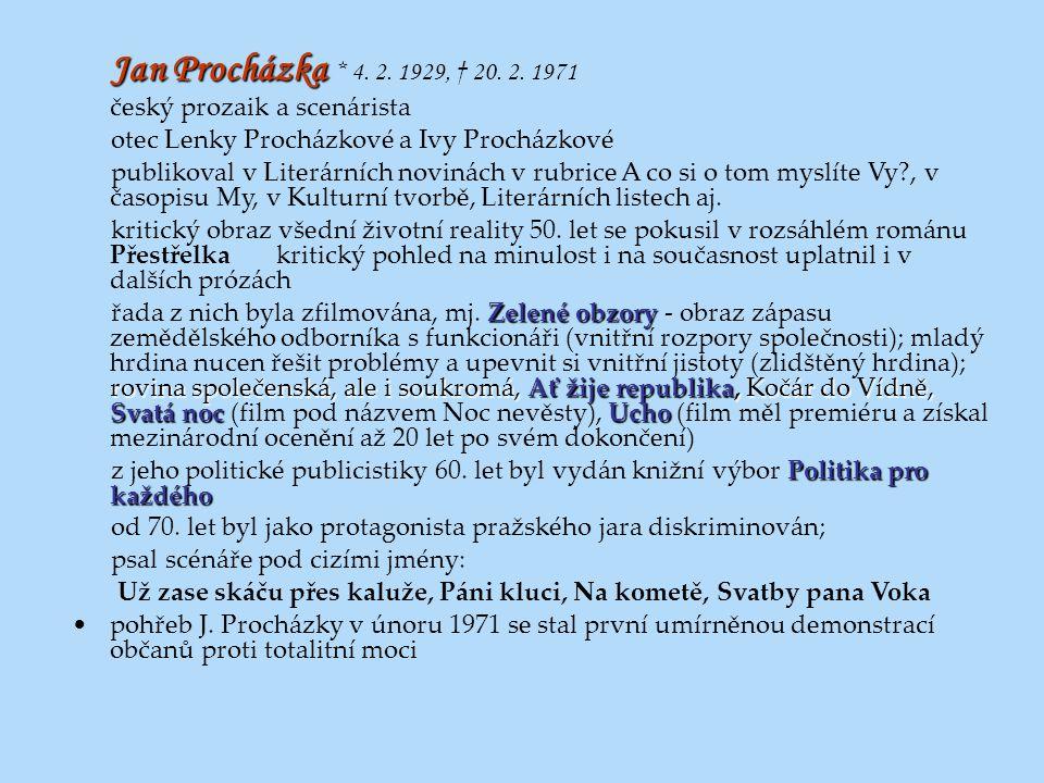 Jan Procházka * 4. 2. 1929, † 20. 2. 1971 český prozaik a scenárista