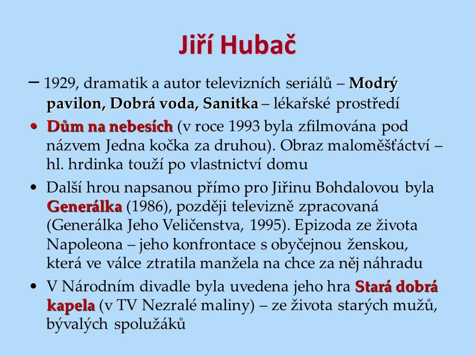 Jiří Hubač – 1929, dramatik a autor televizních seriálů – Modrý pavilon, Dobrá voda, Sanitka – lékařské prostředí.
