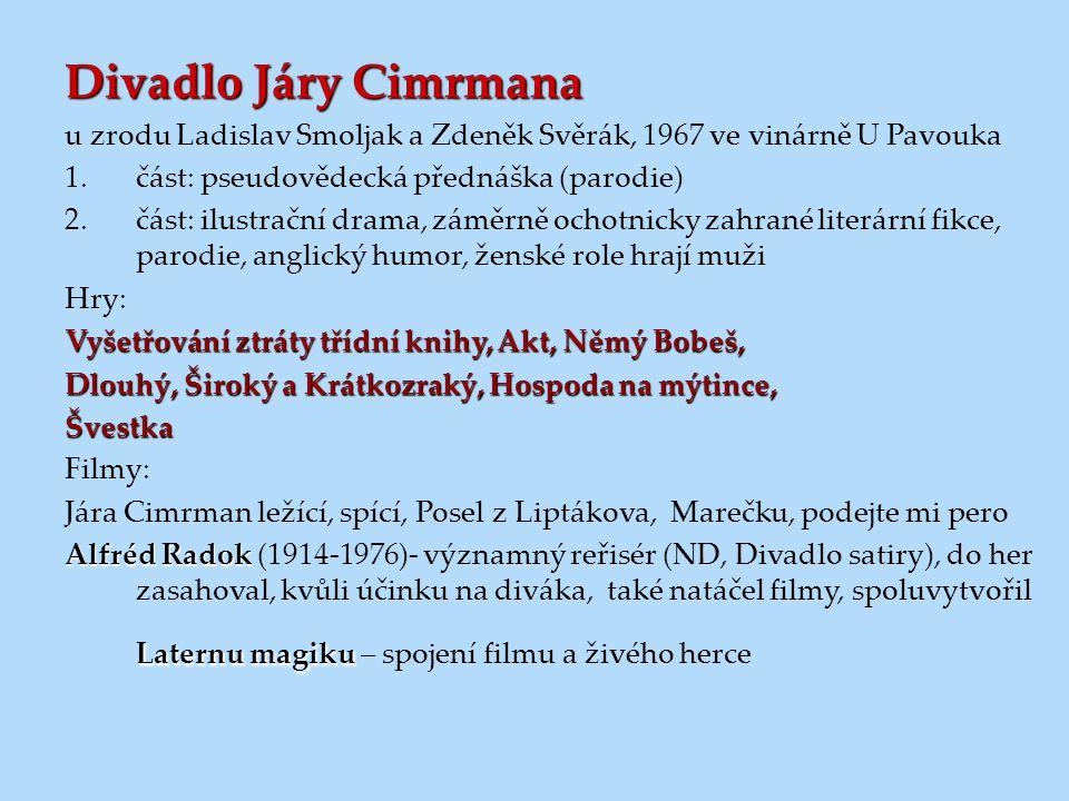 Divadlo Járy Cimrmana u zrodu Ladislav Smoljak a Zdeněk Svěrák, 1967 ve vinárně U Pavouka. část: pseudovědecká přednáška (parodie)