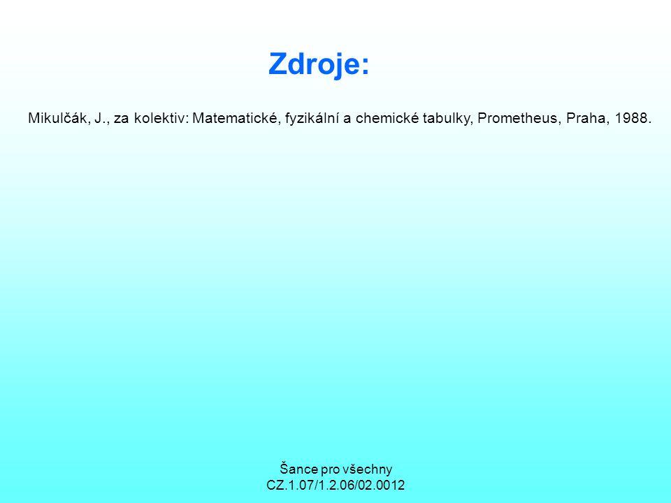 Zdroje: Mikulčák, J., za kolektiv: Matematické, fyzikální a chemické tabulky, Prometheus, Praha, 1988.