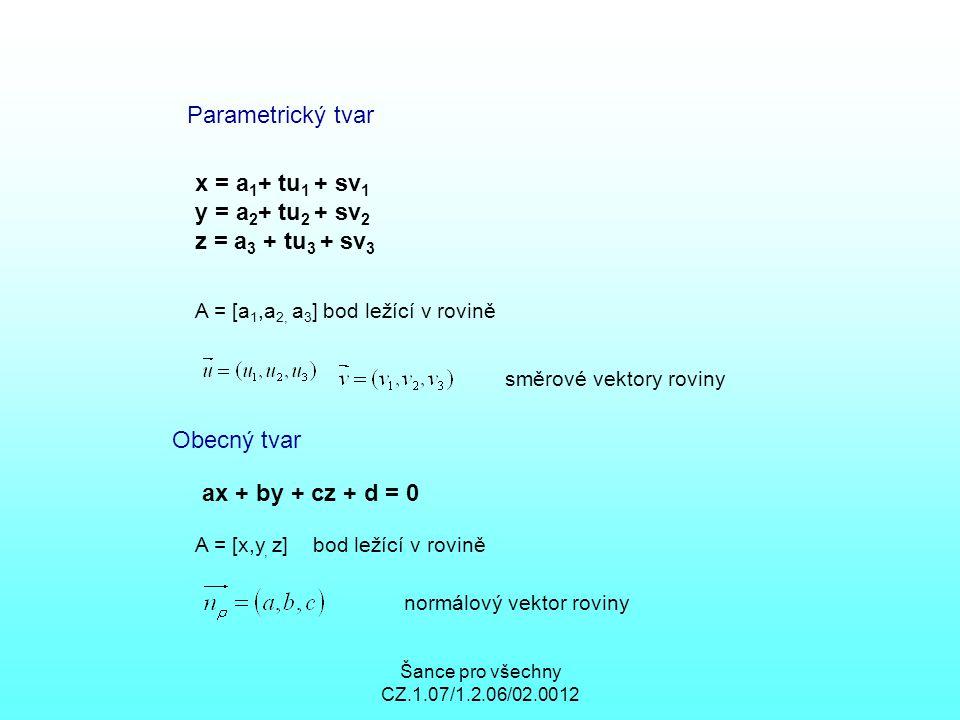 Parametrický tvar x = a1+ tu1 + sv1 y = a2+ tu2 + sv2