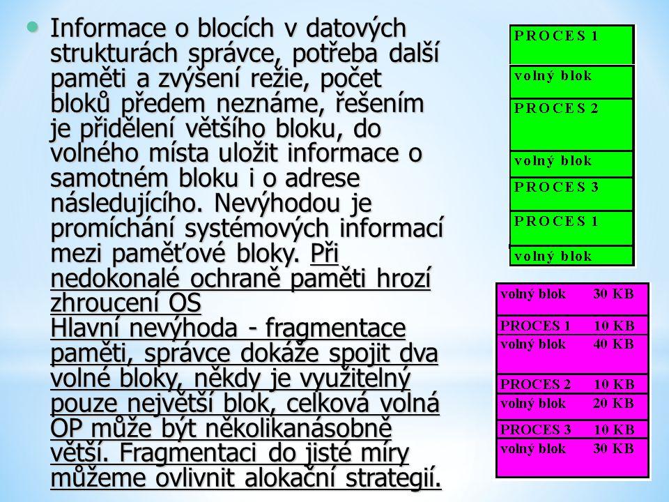 Informace o blocích v datových strukturách správce, potřeba další paměti a zvýšení režie, počet bloků předem neznáme, řešením je přidělení většího bloku, do volného místa uložit informace o samotném bloku i o adrese následujícího.