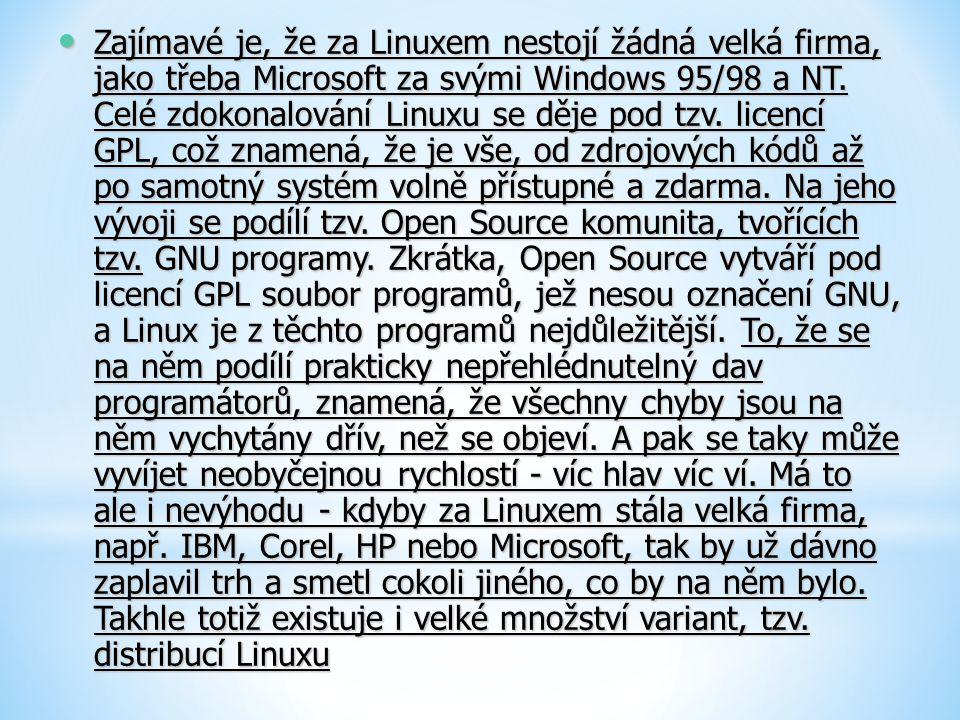 Zajímavé je, že za Linuxem nestojí žádná velká firma, jako třeba Microsoft za svými Windows 95/98 a NT.