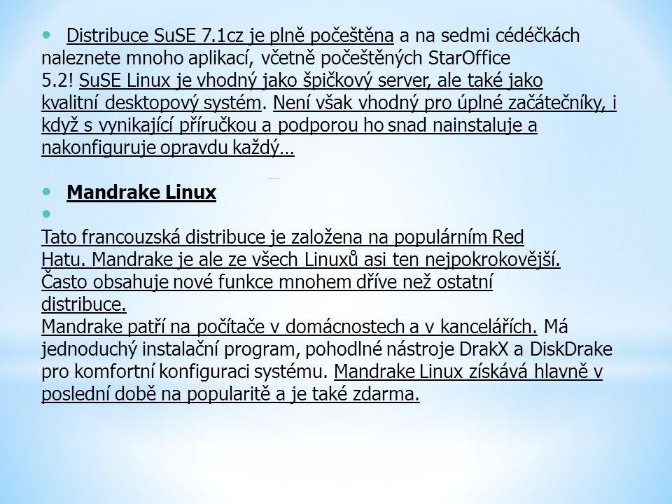 Distribuce SuSE 7.1cz je plně počeštěna a na sedmi cédéčkách