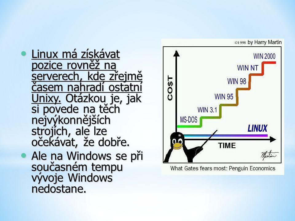 Linux má získávat pozice rovněž na serverech, kde zřejmě časem nahradí ostatní Unixy. Otázkou je, jak si povede na těch nejvýkonnějších strojích, ale lze očekávat, že dobře.