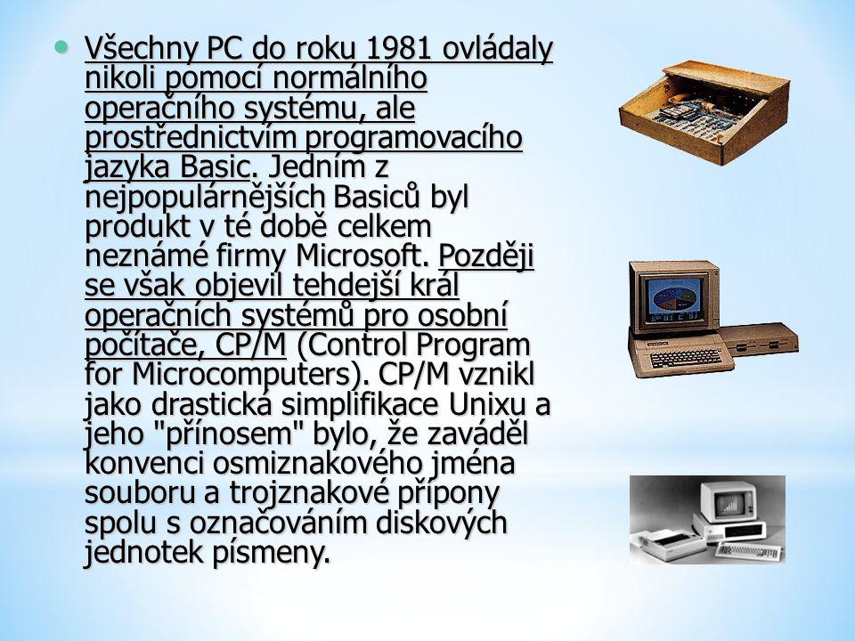 Všechny PC do roku 1981 ovládaly nikoli pomocí normálního operačního systému, ale prostřednictvím programovacího jazyka Basic.