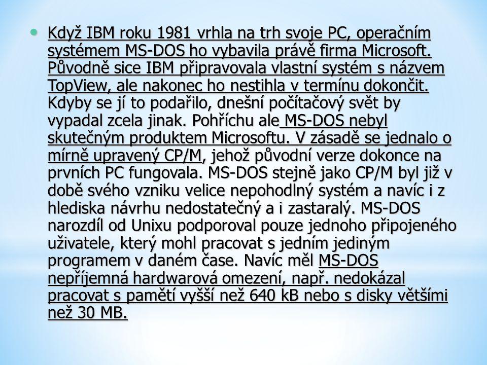Když IBM roku 1981 vrhla na trh svoje PC, operačním systémem MS-DOS ho vybavila právě firma Microsoft.