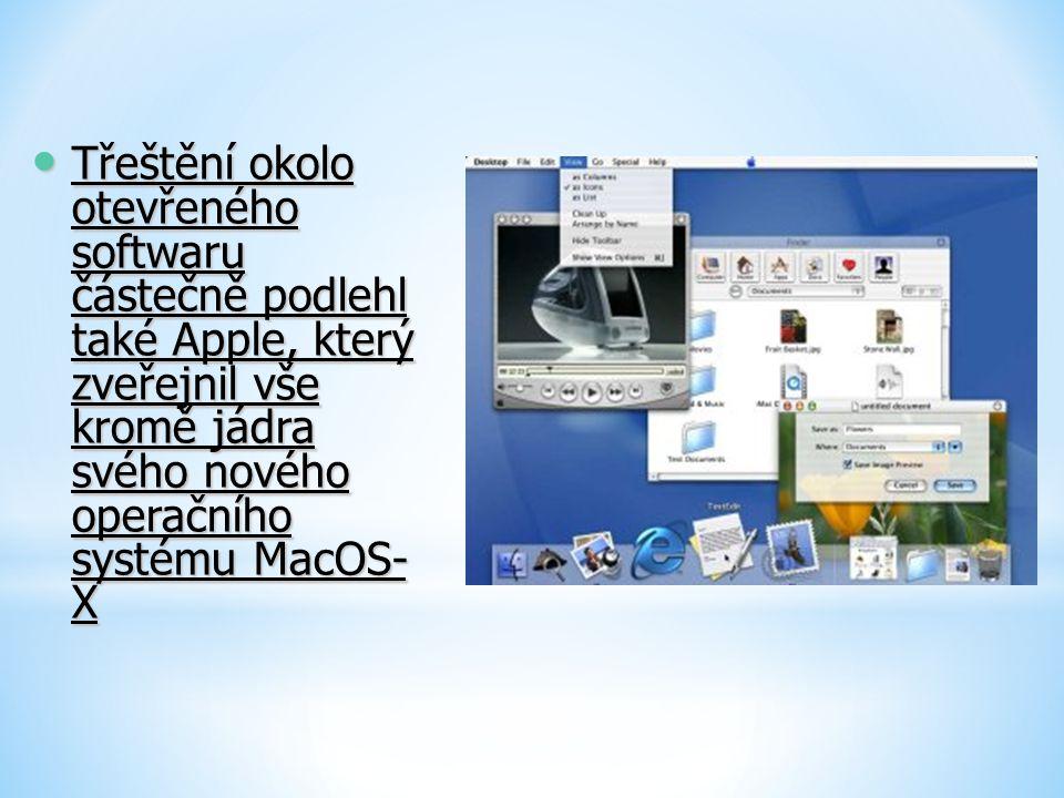 Třeštění okolo otevřeného softwaru částečně podlehl také Apple, který zveřejnil vše kromě jádra svého nového operačního systému MacOS-X