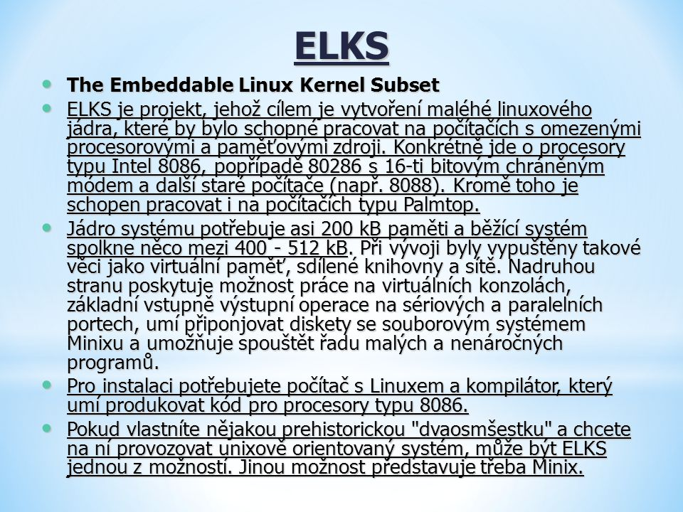 ELKS The Embeddable Linux Kernel Subset