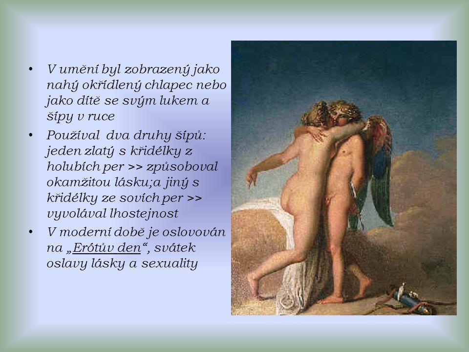 V umění byl zobrazený jako nahý okřídlený chlapec nebo jako dítě se svým lukem a šípy v ruce