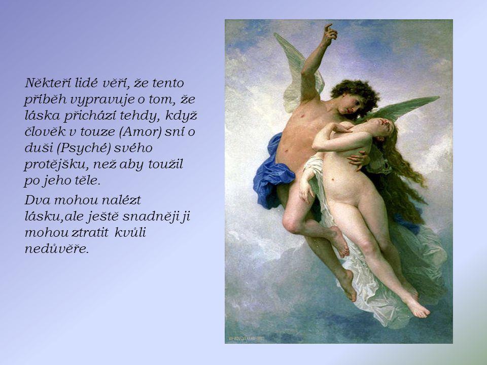 Někteří lidé věří, že tento příběh vypravuje o tom, že láska přichází tehdy, když člověk v touze (Amor) sní o duši (Psyché) svého protějšku, než aby toužil po jeho těle.