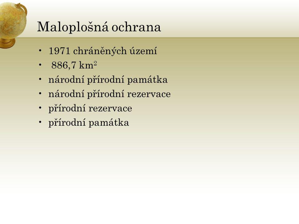 Maloplošná ochrana 1971 chráněných území 886,7 km2
