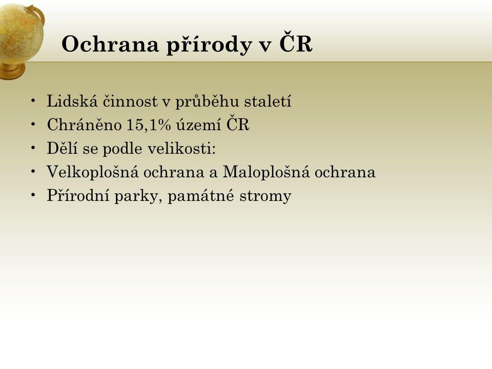 Ochrana přírody v ČR Lidská činnost v průběhu staletí